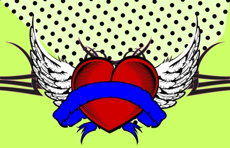 winged heart ribbon tattoo in vector format very easy to edit