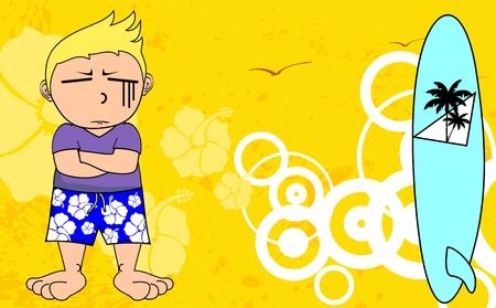 funny surfer: surfer kid cartoon expression set in vector format very easy to edit Illustration