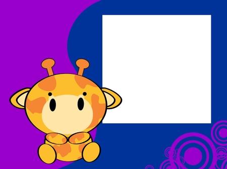 giraffe frame: cute baby giraffe picture frame background in vector format