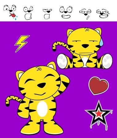 cute tiger funny expressions cartoon set in vector format very easy to edit Vector