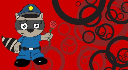 patrolman: raccoon police cartoon background in vcetor format very easy to edit Illustration