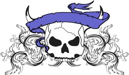 skull ribbon tattoo tshirt in vector format very easy to edit Ilustração
