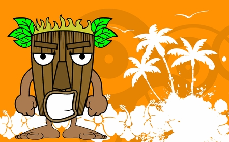 tiki: tiki hawaiian mask cartoon summer background