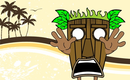 tiki: tiki hawaiian mask cartoon summer background Illustration