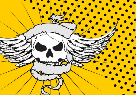 skull ribbon tattoo background in vector format very easy to edit