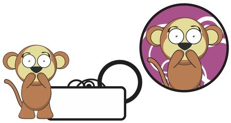 copysapce: cute monkey expression cartoon sticker copyspace in vector format