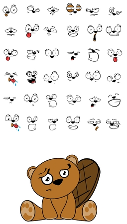 cute beaver expressions cartoon set in vector format very easy to edit Illustration