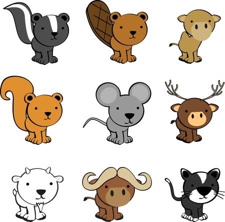 cute animals cartoon set in vector format very easy to edit Vector