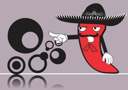 メキシコのマリアッチ唐辛子漫画背景ベクトル形式で  イラスト・ベクター素材