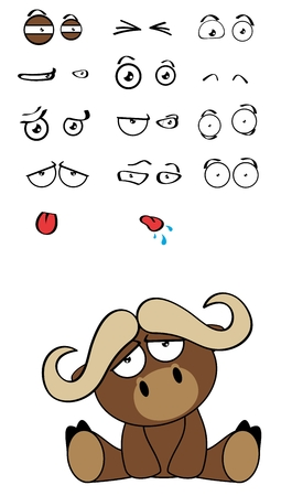 cute water bull expressions cartoon set in vector format very easy to edit