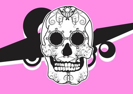 メキシコ スカル漫画背景ベクトル形式で