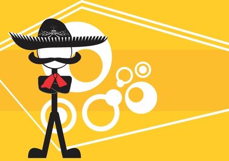 メキシコのマリアッチ漫画背景ベクトル形式で