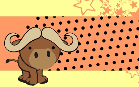 infantile: cute water bull cartoon background in vector format very easy to edit