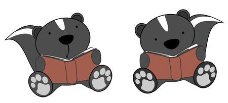 cute little skunk reading cartoon set in vector format