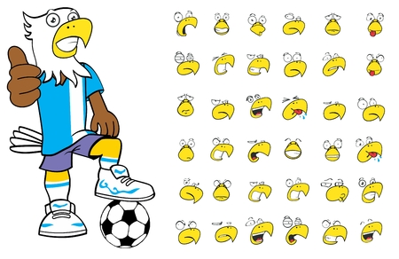 futbol soccer dibujos: expresiones de dibujos animados chico de fútbol águila establecidos en formato vectorial muy fácil de editar Vectores