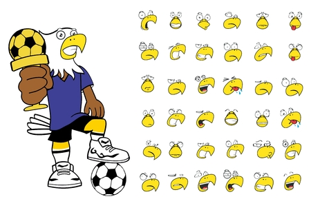 eagle kid soccer cartoon expressions set in vector format very easy to edit Vector