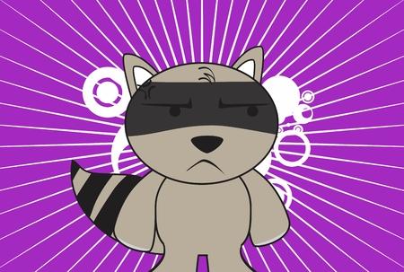 raccoon kid cartoon background in vector format very easy to edit Vector