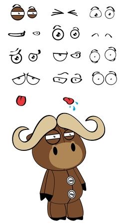 plush: water bull plush cartoon expressions set in vector format very easy to edit
