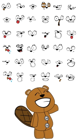 of beaver: beaver plush cartoon expressions set in vector format very easy to edit