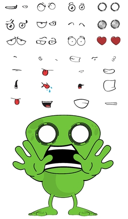 inlove: green monster cartoon expressions set in vector format very easy to edit Illustration