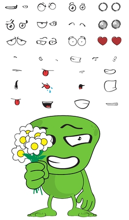 green monster cartoon expressions set in vector format very easy to edit Vector