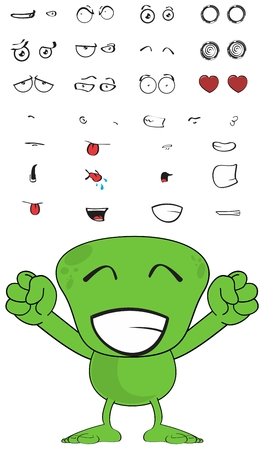 green monster cartoon expressions set in vector format very easy to edit 일러스트