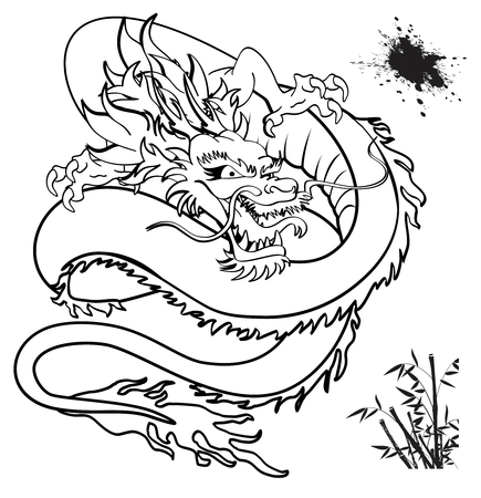 japanese dragon tattoo tshirt in vector format