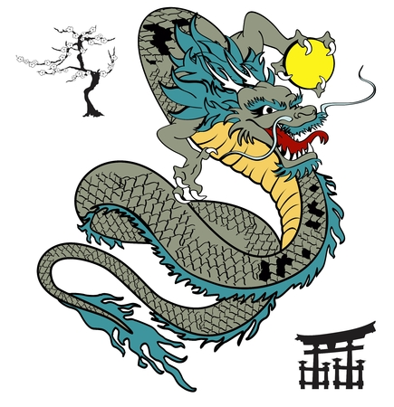 tatouage dragon: japanese tshirt de tatouage de dragon en format vectoriel Illustration
