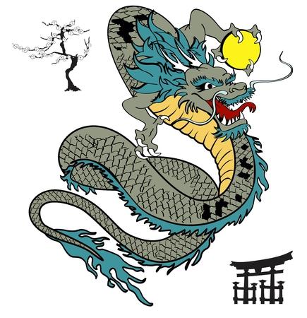 Japonés camiseta del tatuaje de dragón en formato vectorial Foto de archivo - 41494539