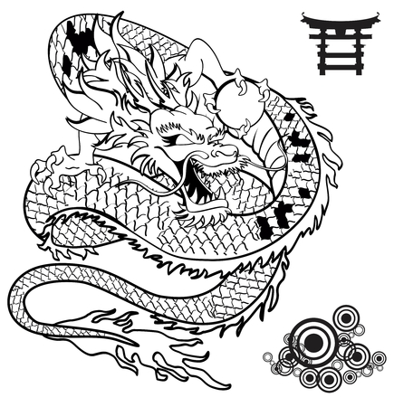 black and white dragon: japanese dragon tattoo tshirt in vector format