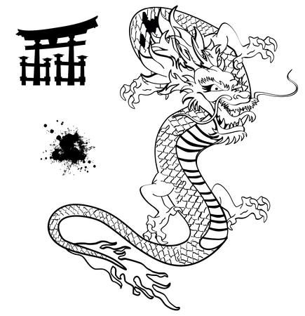Japanse draak tatoeage t-shirt in vector-formaat Stock Illustratie