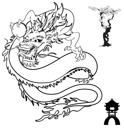 dragon: japanese dragon tattoo tshirt in vector format