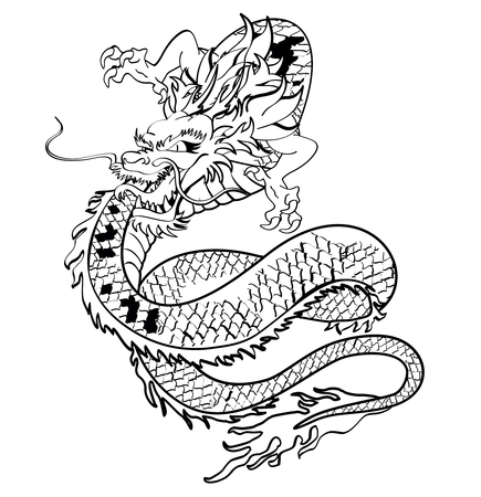 asian trees: japanese dragon tattoo tshirt in vector format