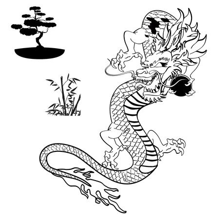 Japanse dragon tattoo tshirt in vector-formaat Stock Illustratie