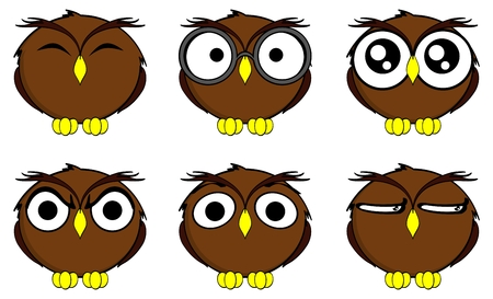 owl cartoon expressions set in vector format very easy to edit