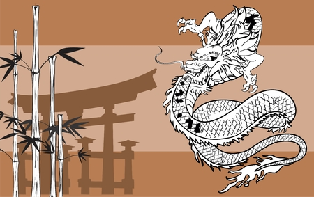 black and white dragon: japanese dragon tattoo background in vector format very easy to edit