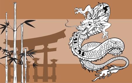Japanse draak tattoo achtergrond in vector-formaat zeer gemakkelijk te bewerken