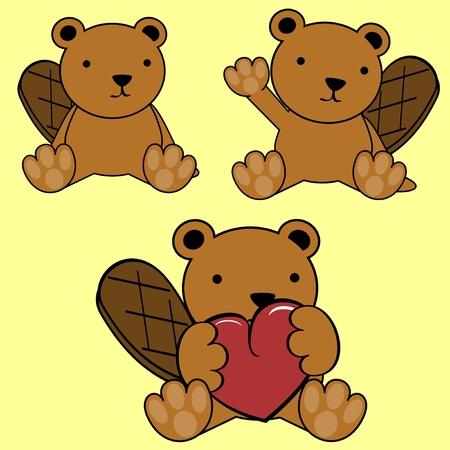 beaver: cute baby lovely cartoon beaver Set in vector format
