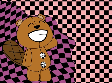 plush: plush baby beaver cartoon background in vector format
