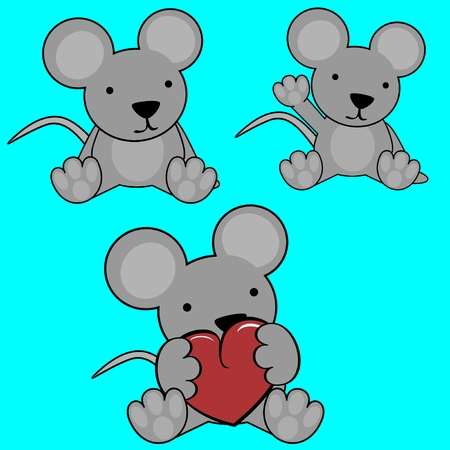 cute baby lovely cartoon mouse in vector format in September Ilustrace