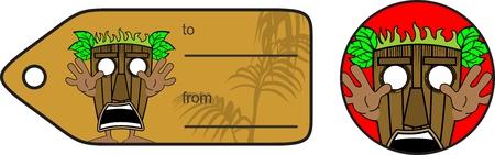giftcard: tiki hawaiian mask expression cartoon giftcard in vector format Illustration