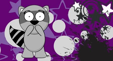 甘いアライグマ漫画のベクトル形式の式の背景