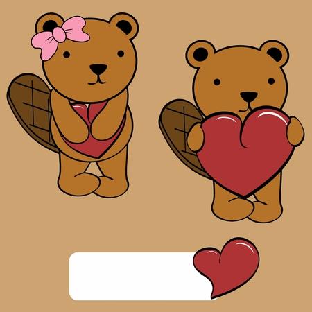 castor: castor linda chica y niño de dibujos animados en formato vectorial