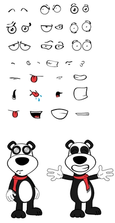 angry teddy: panda teddy bear cartoon emotions Set in vector format very easy to edit Illustration