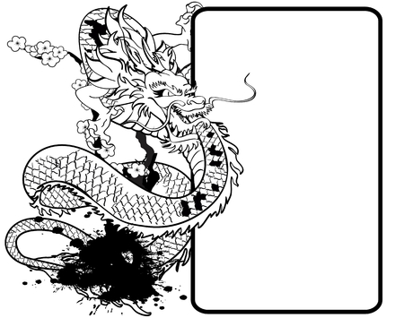 asian dragon tattoo copyspace in vector format