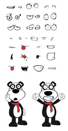 angry teddy: panda teddy bear cartoon emotions Set in vector format very easy to edit Illustration
