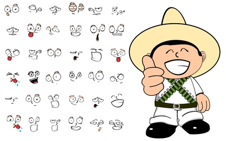 mexican boys: September expressions mexican kid cartoon in vector format Illustration