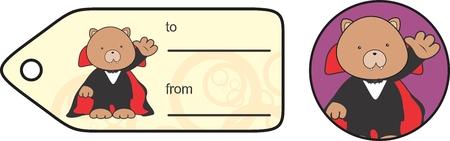 cute teddy bear: cute teddy bear dracula cartoon giftcard Set in vector format Illustration