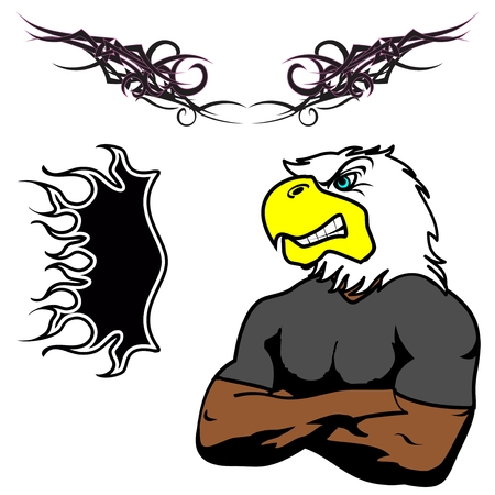 eagle: angry cartoon eagle muscle Set in vector fromat