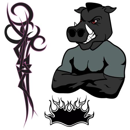 jabali: enojado muscular historieta del cerdo salvaje Set en el vector fromat
